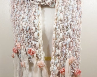 Handknit Scarf from Handspun Art Yarn with Faux Pearls Soft Romantic Shabby pink aqua lavender