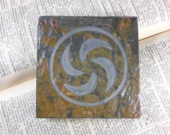 FOREST SAGE MEDALLION - 4x4 Art Tile - Hand Carved Slate Art Coaster, Etched Stone Art Display Tile - Video Game Coaster