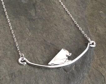 Silver origami bird trapeze pendant necklace