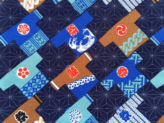 Japanese Fabric - Cotton Fabric -  Half Yard - Festival Happi Coat  - Brown Blue Red - 110 cm x 50 cm (F92)