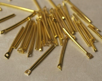 Gold plated stick drop dangle 20mm long 16g thick, 24 pcs (item ID XM00576ABE)