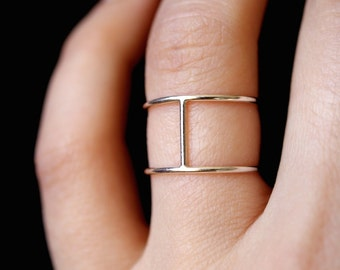 Sterling Silver Cage ring, double bar ring, silver ring, silver stack ring, silver cage ring, sterling silver H ring
