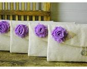 Set of 7 -ONE BAG FREE- Bridesmaid Clutch Purse, burlap shabby Linen, Bridesmaids Gift, Wedding purse clutch raw linen Personalize MakeUp