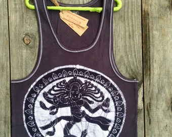 Shiva batik clothing ribbed tank top men vintage black hand painted and hand dyed yoga clothes