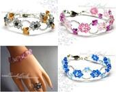 Swarovski bracelet, Rosy Pink, Copper Black, Blue Aquamarine Flower Butterfly Crystal Bracelet by CandyBead