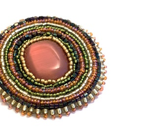 Rhapso // Bead Embroidered Pin // Brooch