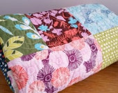 Modern Baby Girl Quilt, Sugar Pop - Flowers and Leaves - Pink Aqua Green Blue Brown Purple - Handmade Heirloom Baby Girl Quilt