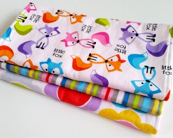 Baby Girl Burp Cloth Gift Set - Sweet Little Fox - Brightly Colored New Baby Girl Gift - Foxes in pink aqua lime purple - Gift Set