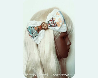 Prairie Princess Patchwork Lolita Lace Hair Bow Clip, Large Big Jumbo Clip - one of a kind OOAK