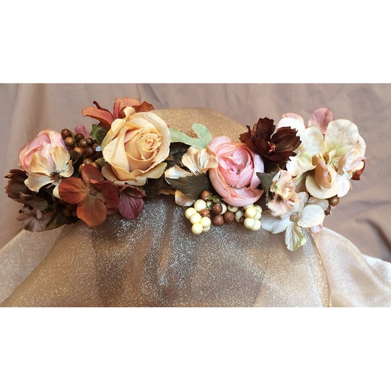 floral head wreath rum pink bridal flowers Renaissance costume womens fashion accessory