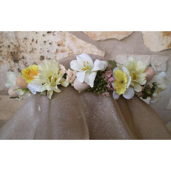 Floral head wreath Ostara Easter flower crown bridal hair flowers womens fashion accessories