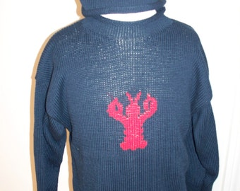 Adult Maine seafood coastal lobster cotton pullover roll neck sweater  ***Free Shipping***