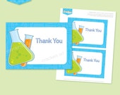 Instant download - SCIENCE Party Thank You Notes (Blue) - DIY Printable