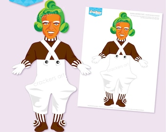 Instant Download - WONKA Inspired Party Oompa Loompa 265mm tall - DIY Printable