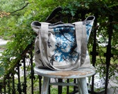 Robins Egg Blue Dragonfly Tote - Hand Printed  -  2 Pockets
