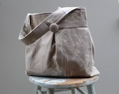 Grey Wildflower Damask Hobo Bag - Reversible to Solid Grey Linen
