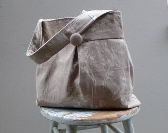Grey Wildflower Damask Hobo Bag - Reversible to Solid Grey Linen