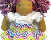 Waldorf doll clothes, 14 in chevron ruffle doll skirt, 15 in pastel doll skirt, 14 15 inch doll clothing, bright doll clothes
