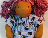 14, 15, 16 inch waldorf doll pajamas in blue trains flannel, waldorf pajamas, doll clothing, doll pajamas, PJs for dolls