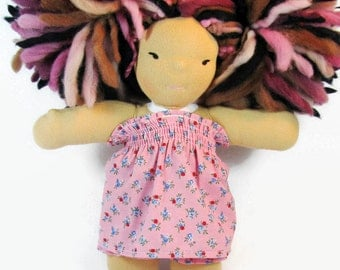 8 inch Chubby Waldorf Doll Clothes, 8 in pink doll sundress, doll dress with knickers, doll clothing, waldorf dress and bloomers