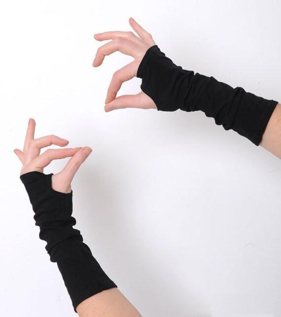 Black arm warmers ,Black fingerless gloves, Jersey fingerless gloves, Black wrist warmers, Jersey wristwarmers, Black fingerless armwarmers