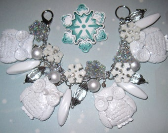 Snowy Owl Charm Bracelet White Winter Snowflake Wonderland Jewelry Christmas Snow Woodland OOAK Chunky Eclectic Holiday Statement Bracelet