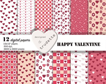 Valentine Digital Paper - Happy Valentine - Love hearts,  12 papers - red hearts