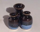 Three Mini Black Stoneware Bud Vases