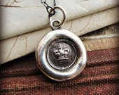 tiny crown wax seal necklace - wax seal jewelry in fine silver, eco friendly, princess crown necklace