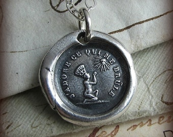 Love is Blind Wax Seal Necklace - Unconditional Love - No matter what, I love you - French Motto Wax Seal Necklace - FP325