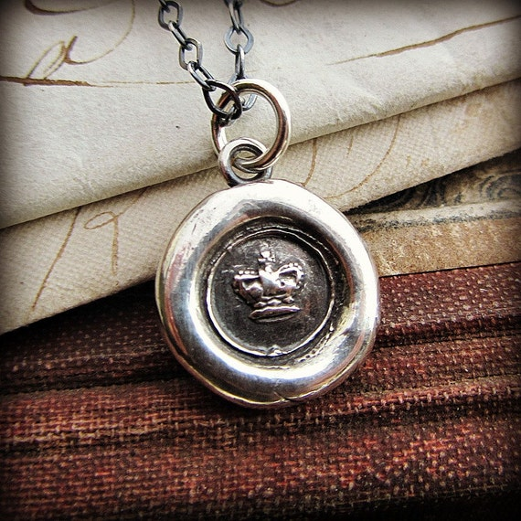 tiny crown wax seal necklace - wax seal jewelry in fine silver - eco friendly - crown necklace - V1221