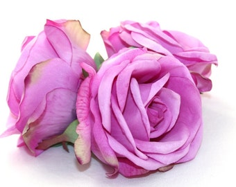 3 Budded Life Like Rose Heads in Lilac - silk flowers, silk flower, artificial flower, artificial flowers - ITEM 0618