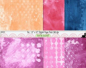 12 x 12 inch Orange Pink Blue Purple Painted Background Papers Instant Download Set of 6 Digital Scrapbook Papers JPEG Commercial Use 2022