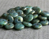 6mm Turquoise Bronze Picasso Czech  Glass Bead Rondelle Spacer : 50 pc Turquoise Rondelle Beads