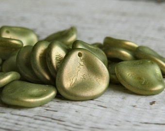 Halo Ethereal Celadon Czech Glass Bead 14mm Rose Petal : 12 pc Green Gold Czech Rose Petal