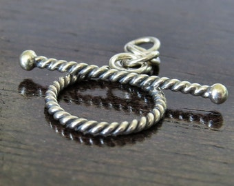 Bali Sterling Silver 13mm Twisted Toggle Clasp : 1 Clasp