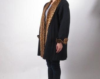 vintage 80s animal print black wool old new stock fur coat