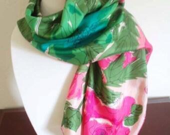 Vintage Designer Vera Rose Floral Silk Scarf/ Spring Pink Floral Rectangle Scarf