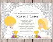 PRINTABLE First Holy Communion Invitation for Siblings, Twins, Cousins / Choose Hair Color and Choose Boy or Girl / Silver Gray / You Print