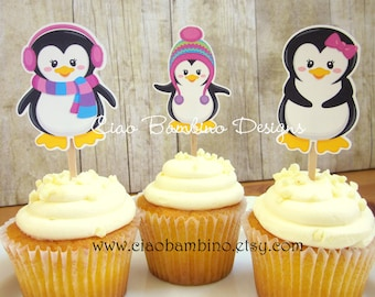 Penguin Cupcake Toppers / Die Cut Cupcake Toppers for Winter ONEderland Birthday or Baby Shower / Wonderland / Set of 12 Toppers - 0013