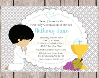 PRINTABLE First Holy Communion Invitation in Silver Gray and Blue / Print Your Own Invitations / Choose Hair & Skin Color / You Print HC05
