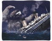 Slothberg, Sloth Titanic, Fleece Blanket, Printed in USA