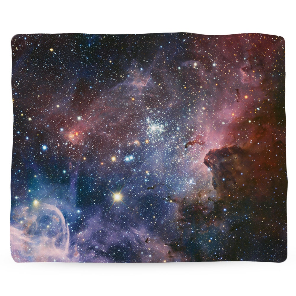 Carina nebula galaxy fleece space blanket printed in usa for Space fleece fabric