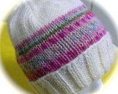 Lady's Hat, Hand Knit, Winter White with Multicolor Band, One Size Fits Most