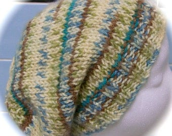 La Slouch Hat for Ladies, Ivory, Tan, Blue, Teal Print Acrylic Yarn, Hand Knit