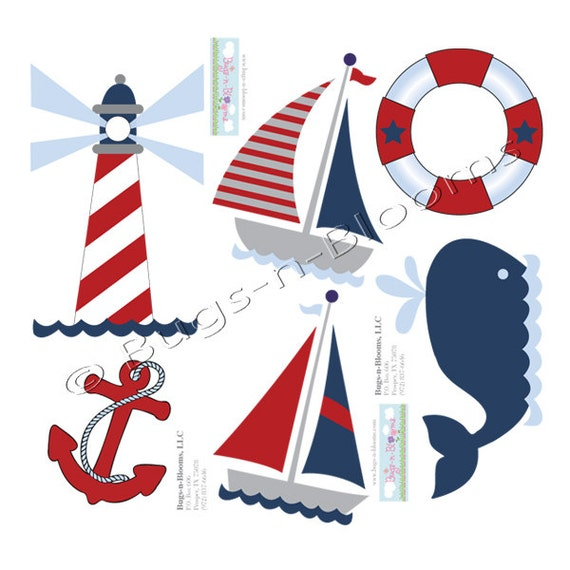 Baby boy bedding nautical - Nautical Ocean Wall Decals Mural Sticker Boat Whale Light
