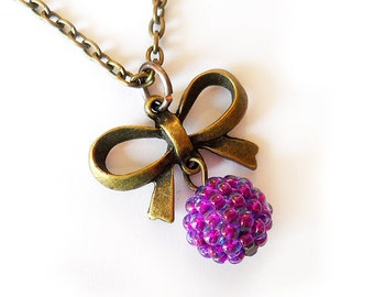 Bronze Bow Necklace with purple bead - Purple Glass Beads Necklace
