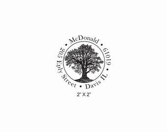 Oak Tree Personalized Return Address Rubber Stamp AD374