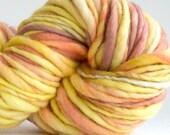 Handspun Yarn Strawberry Blonde 96 yards hand dyed merino wool blue yarn waldorf doll hair knitting crochet supplies