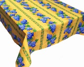 Grapes on Yellow Tablecloth and Napkins, Yellow Tablecloth, French Provence Tablecloth and Napkins